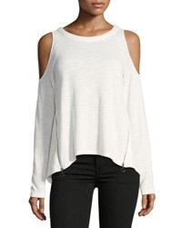 P. Luca Cold Shoulder Zip Detail Tee Off White