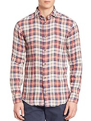 Eleventy Plaid Linen Sportshirt Red Multicolor