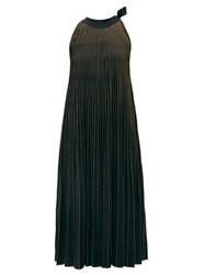 Elie Saab Tie Neck Metallic Ribbed Knit Midi Dress Black