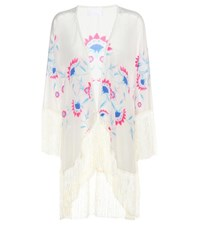 Athena Procopiou Flower Child Fringed Silk Kimono Multicoloured