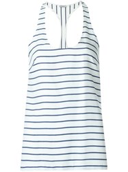 Tufi Duek Racerback Striped Top Silk Viscose Blue