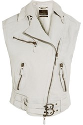 Roberto Cavalli Oversized Textured Leather Vest Ivory