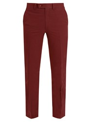 Brioni Slim Fit Cotton Chino Trousers Burgundy
