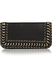 Balmain Chain Embellished Leather Clutch Black