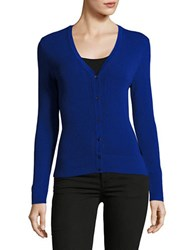 Ellen Tracy Solid Knitted Pointelle Trim Cardigan Blue