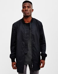 Religion Fret Longline Bomber Jacket Black