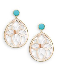 Ippolita Rock Candy Turquoise Mother Of Pearl Brown Shell And 18K Yellow Gold Carved Teardrop Earrings