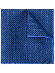 Canali Micro Check Pocket Square Blue