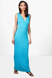 Boohoo Wrap Front And Back Maxi Dress Turquoise