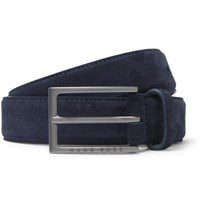 Hugo Boss 3Cm Navy Cedy Suede Belt Navy