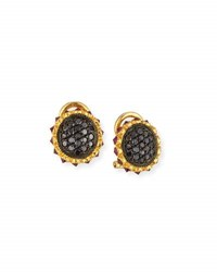 Sally Sohn Black Diamond And Ruby Stud Earrings In 18K Yellow Gold