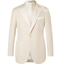 Thom Sweeney White Slim Fit Silk Hopsack Tuxedo Jacket White