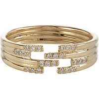 Jennie Kwon Women's Pave Diamond And Gold Stacked Cutout Ring No Color