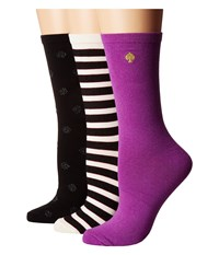 Kate Spade Stripe Solid Dot Gift Box Item 3 Pack Pink Black Women's Crew Cut Socks Shoes