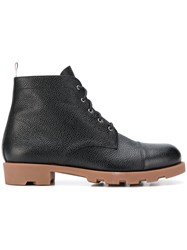 Thom Browne Panama Rubber Leather Derby Boot Black