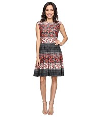 Christin Michaels Adriane Printed Fit And Flare Dress Black Red Women's Dress