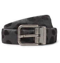 Dolce And Gabbana 2.5Cm Grey And Black Calf Hair Belt Gray