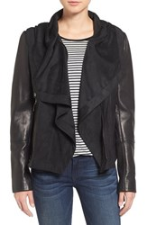 Vince Camuto Women's Leather And Suede Hooded Jacket