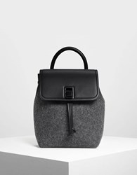 Charles And Keith Classic Push Lock Backpack Black