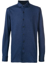 Xacus Patterned Shirt Cotton Blue