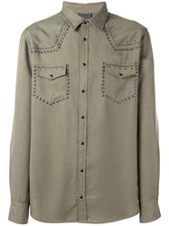 Laneus Metallic Embellished Shirt Green