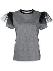 Red Valentino Tulle Sleeve T Shirt Grey