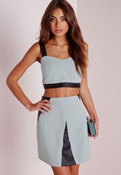 Missguided Faux Suede And Leather Contrast Crop Top Blue