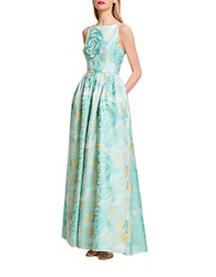 Adrianna Papell Floral Print A Line Gown Mint