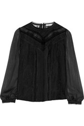 Alice Olivia Dayna Embroidered Silk Chiffon And Georgette Blouse Black