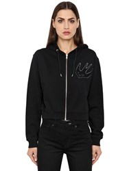 Mcq By Alexander Mcqueen Varsity Zip Up Hooded Cotton Sweatshirt