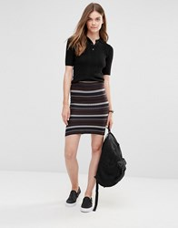 Only Stripe Co Ord Tube Skirt Night Sky Multi