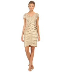 Adrianna Papell Cap Sleeve Shimmer Cocktail Dress Champagne Women's Dress Gold