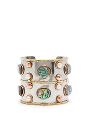Sylvia Toledano Sea Opal And Pearl Hammered Cuff Blue