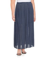 Michael Michael Kors Plus Polka Dot Pleated Long Skirt Blue