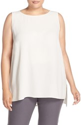 Eileen Fisher Plus Size Women's Silk Crepe Georgette Bateau Neck Shell Bone