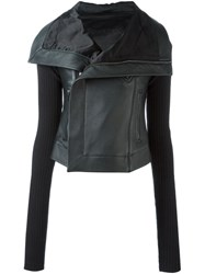 Rick Owens Knit Sleeve Biker Jacket Black