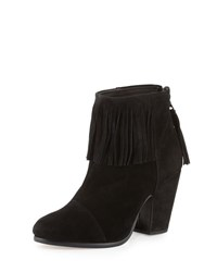 Rag And Bone Newbury Fringe Suede Bootie Black Black Suede