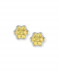 Bayco Platinum And Yellow Sapphire Floral Stud Earrings