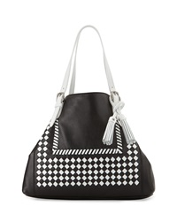 Isabella Fiore Reno Woven Large Tote Bag Black White