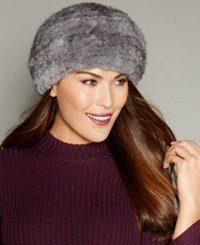 The Fur Vault Knitted Mink Headband Silver Blue