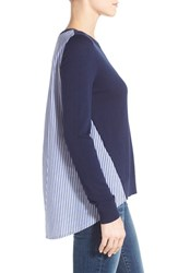 Women's Halogen Poplin Back Crewneck Sweater Navy Peacoat