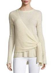 Brochu Walker Gray Cashmere And Wool Wrap Sweater Vanilla