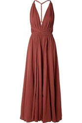 Caravana Hera Leather Trimmed Cotton Gauze Halterneck Maxi Dress Burgundy
