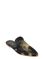 Gia Couture 10Mm Palm Fan Embroidered Satin Mules