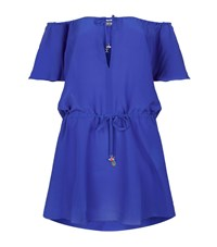 Lazul Desi Silk Cap Sleeve Mini Dress Blue
