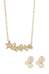 Melinda Maria Cz Jasmine Studs And Celestial Necklace Set White