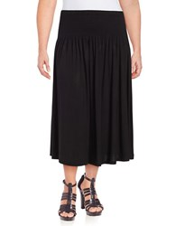 Lord And Taylor Plus Smocked Waist Convertible Skirt Black