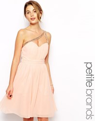 Little Mistress Petite One Shoulder Embellished Prom Dress Softpink