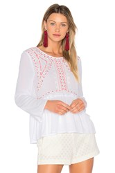 525 America Embroidered Top White