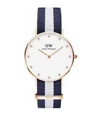 Daniel Wellington Classy Glasgow Stainless Steel Blue Nylon Strap Watch 36Mm